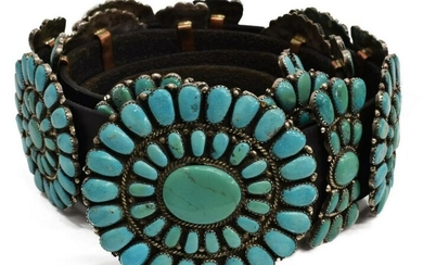 NATIVE AMERICAN SILVER & TURQUOISE CONHCO BELT