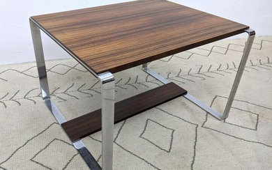NORWAY Modern Rosewood and Chrome Side End Table. Meta