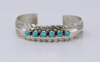 Native American Navajo Turquoise Bangle by Randall