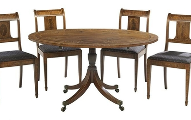 Neoclassical-Style Tilt-Top Table & Four Chairs