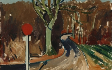 Olaf Rude: View with forrest road. Signed Olaf Rude 22. Oil on canvas. 53×70 cm.