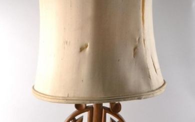 Oriental wooden table lamp with shade, base in lovely condit...