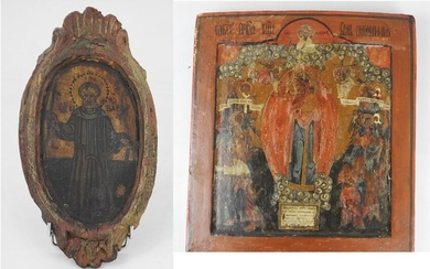 Orthodox ICON in painted wood depicting a Virgin...