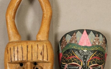 PACIFIC ISLAND CARVED WOOD MASKS, 2 PCS