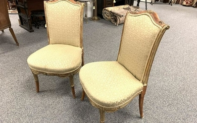 PAIR 19TH C PARCEL GILT SIDE CHAIRS