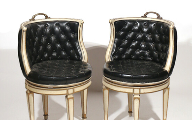 PAIR CAPITONE LEATHER SWIVEL CHAIRS