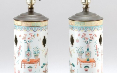 """PAIR OF CHINESE FAMILLE ROSE PORCELAIN HAT STANDS Decorated with scholar's objects, vases and jardinières. Heights 11"""". Mounted as t.."""