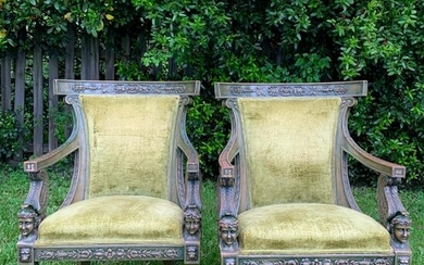 Pair 19th C. French Empire Chairs
