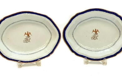 Pair Chinese Export Hand Painted Porcelain Trays