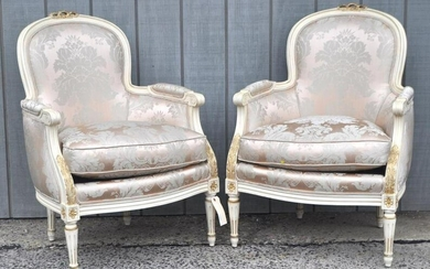 Pair French Painted Bergere Arm Chairs
