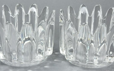 Pair Signed Matching Orrefors Crystal Bowls