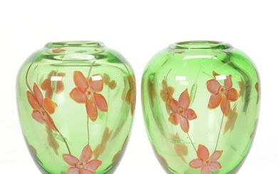 Pair Vases, Contemporary Paperweight Art Glass