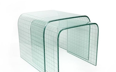 Pair of Etched Glass Waterfall Tables by Angelo Cortesi