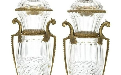 Pair of Gilt-Bronze-Mounted Cut Glass Urns