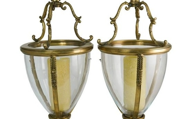 Pair of Gilt Bronze and Glass Candle Holders