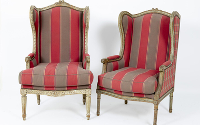 Pair of beautiful neoclassical flared armchairs with sculpted...