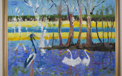 Patrick Hockey - Tropical Landscape with Cranes, 20th century oil on board, signed, 90cm x 120cm, wi
