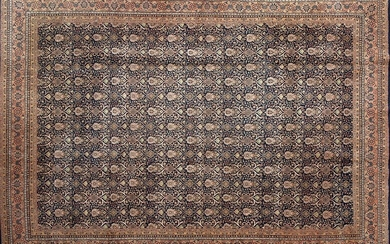 Persian rug BIDJAR, in wool, hand knotted with very fine knots (approximate density, 360.000 knots per square meter). Elegant design based on repetitive ornamental elements of great beauty covering the main field. Measurements: 340x240 cm. S