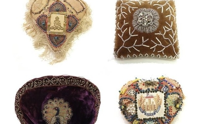 Pin Cushions and Other Items, comprising a military wool patchwork...