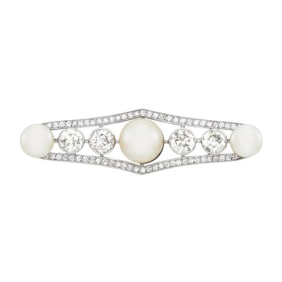 Platinum, Mabé and Freshwater Button Pearl and Diamond Bar Brooch, France