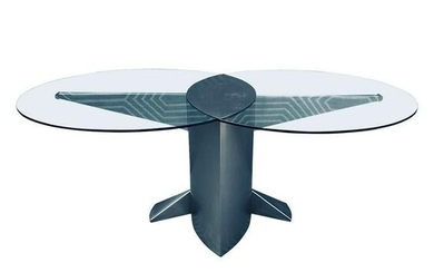 Post Modern 80s Glass & Chrome Dinning/Conference Table