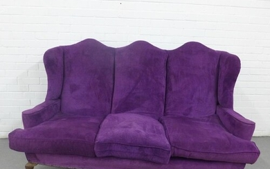 Queen Anne style purple velvet upholstered sofa with triple ...