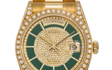 ROLEX, GOLD AND DIAMONDS DAY-DATE WITH GREEN LACQUERED DIAL, REF. 18388, CASE NO. E559072