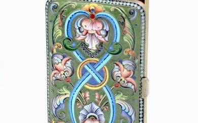 RUSSIAN SILVER-GILT & ENAMEL CIGARETTE CASE