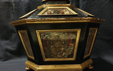 Reliquary with ex ossibus casket - 5 Holy Martyrs - 17th century - Glass, Lacquer, Wood, Silver threads, fabric - mid 17th century