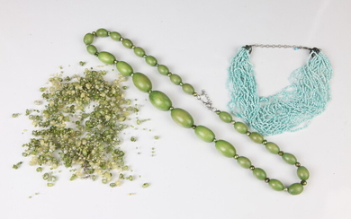 SELECTION OF COSTUME JEWELRY:MULTISTRAND BEADED NECKLACE WITH TWO OLIVE GREEN...