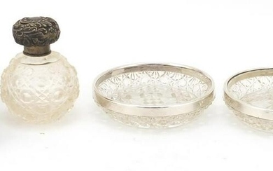 Silver mounted cut glass objects including a scent
