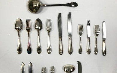 Silver-plated metal set of 73 pieces including: 1...