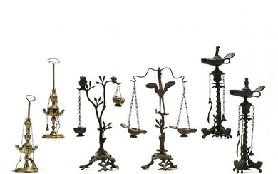 Six Tall Brass Oil Lamps Based on Ancient Prototypes
