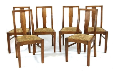 Six early 20th century oak dining chairs