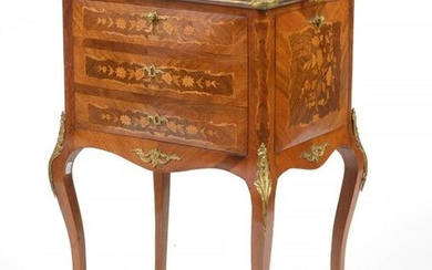 Small furniture - bar in the Louis XV style in veneered wood with curly veneer and light wood floral marquetry opening on all four sides. Ornamentation in gilt bronze and surmounted by a cherry marble shelf. Dutch work. Period: 19th century. (* to an...