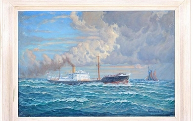 Steamboat with Dutch tricolor on the high seas, canvas