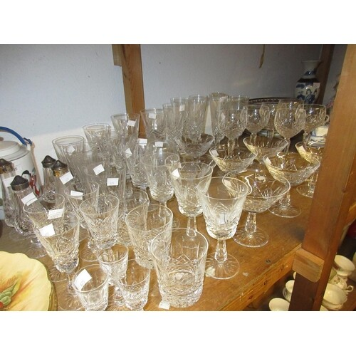 Suite of Waterford drinking glasses comprising ; seven champ...