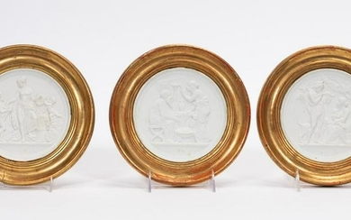 THREE FRAMED PLASTER CLASSICAL BAS RELIEF PLAQUES