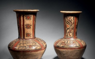 TWO LONG NECKED VASASES PAINTED WITH CRAB AND...