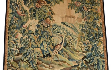 Tapestry in wool with greenery, exotic birds and...