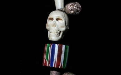 Tibetan Shell and Glass Bead Necklace with Skull Motif