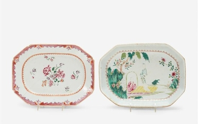 Two Chinese export porcelain famille rose octagonal serving dishes...