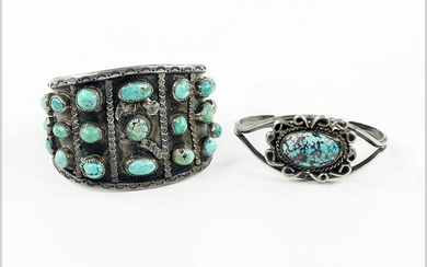 Two Silver and Turquoise Cuff Bracelets.