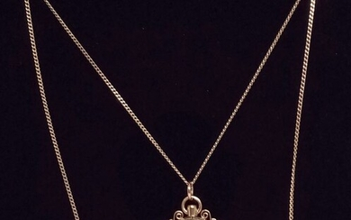 UnoAErre - Mixed Yellow gold - Necklace with pendant 50 cents silver coin of 1863