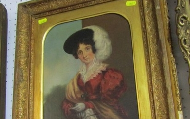 """VICTORIAN PORTRAIT, oil on canvas """"Portrait of Lady in red j..."""