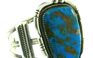 VINTAGE Sterling Silver & Turquoise Bangle