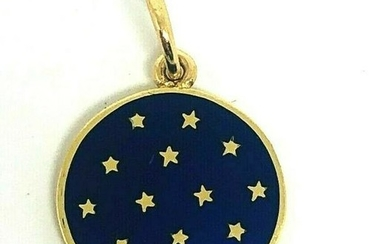 VINTAGE Yellow Gold Blue Enamel Stars CHARM