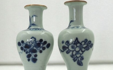 Vases (2) - Blue and white - Porcelain - Flowers - 'flower design' - China - Transitional Period