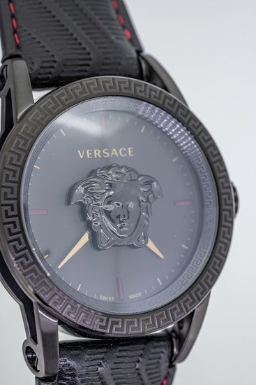 Versace - Palazzo Empire Watch Black PVD Black Leather strap Swiss Made - VERD00218 - Men - Brand New