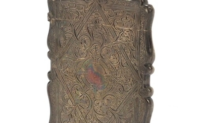 Victorian silver card case engraved with flowers and vines, ...